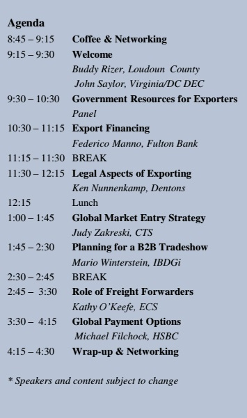 Export University Agenda