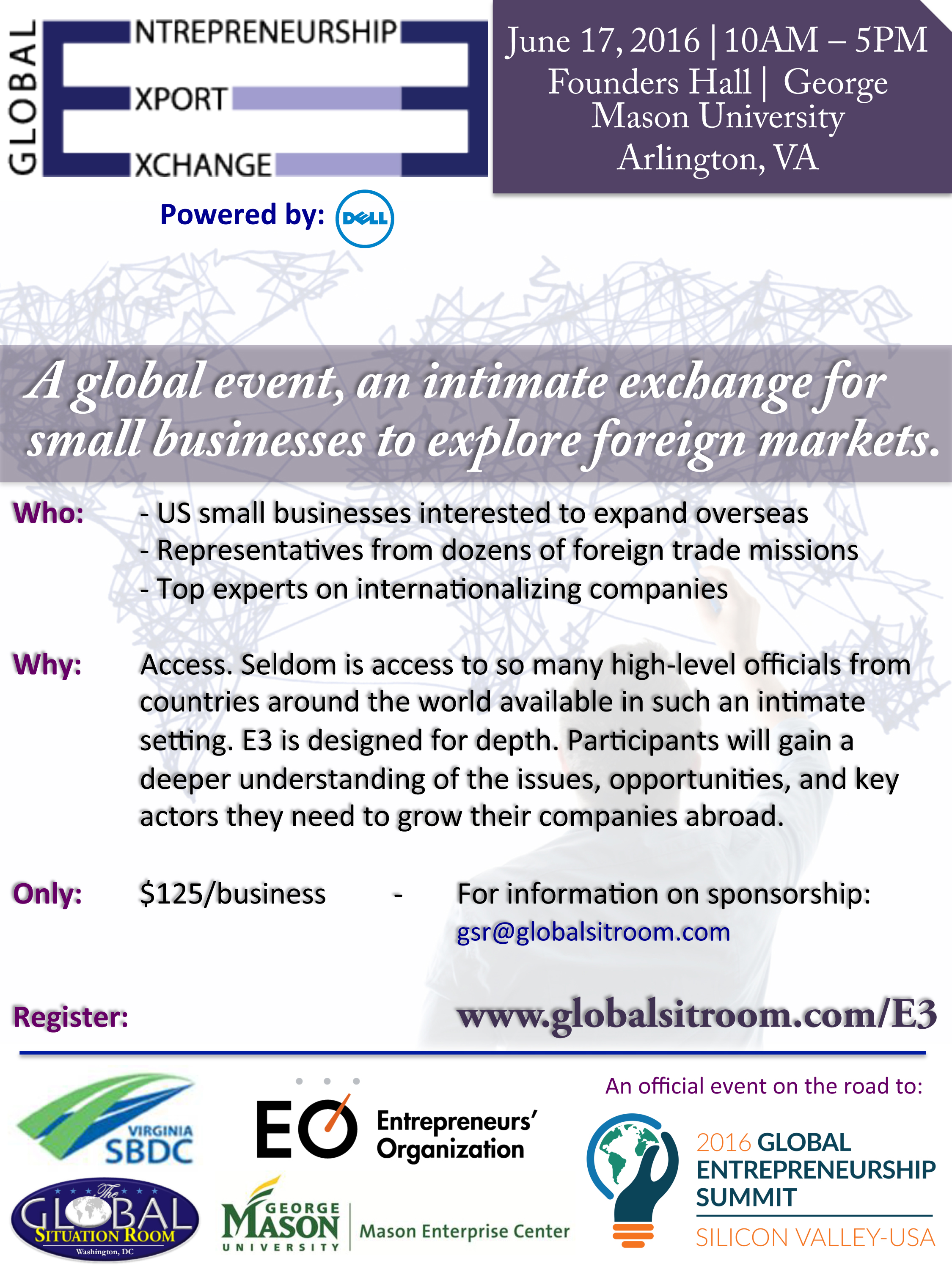 Global Entrepreneurship Export Exchange (E3) @ George Mason University, Founders Hall | Arlington | Virginia | United States