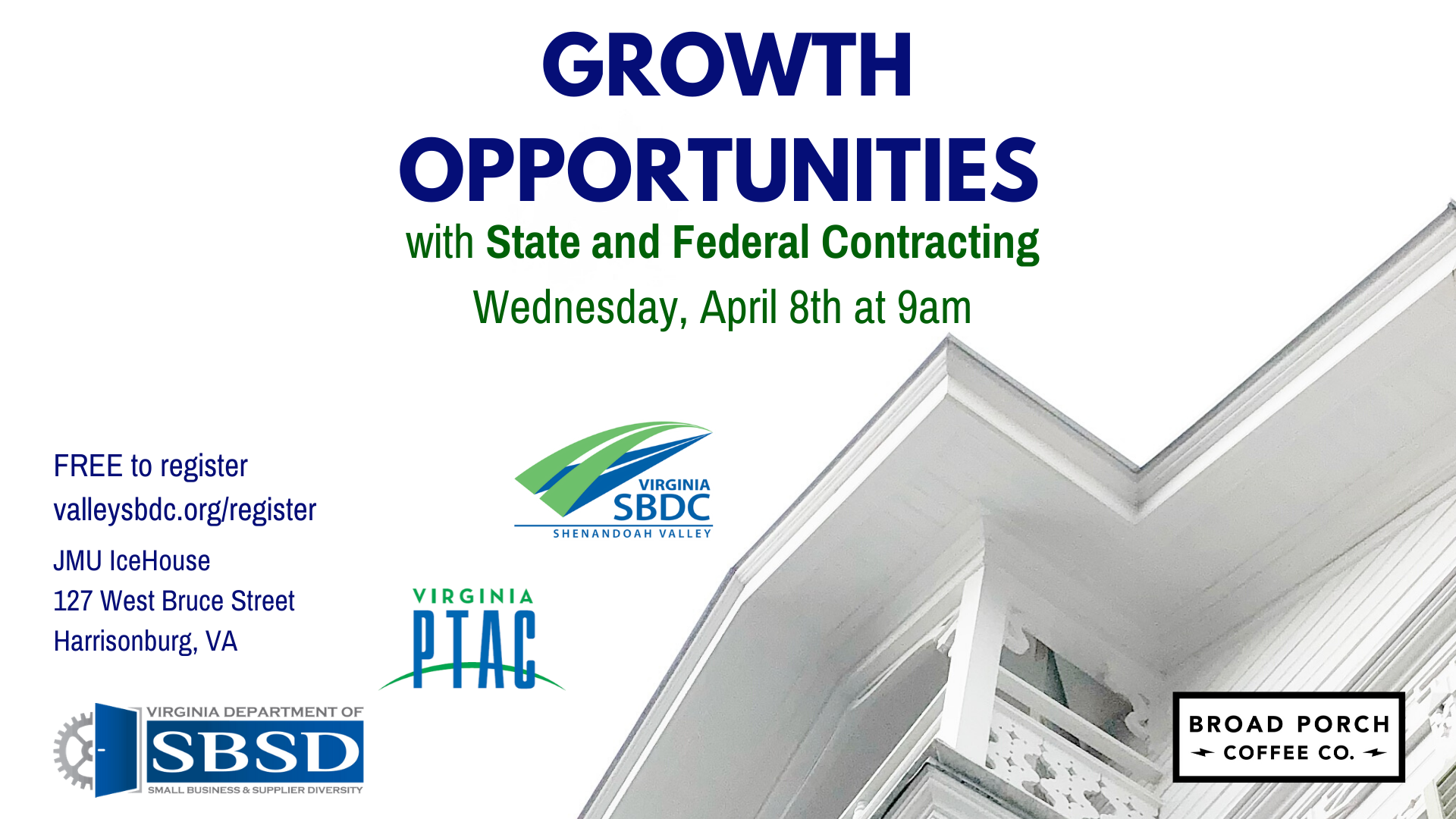Postponed: Growth Opportunities with State and Federal Contracting @ JMU Ice House